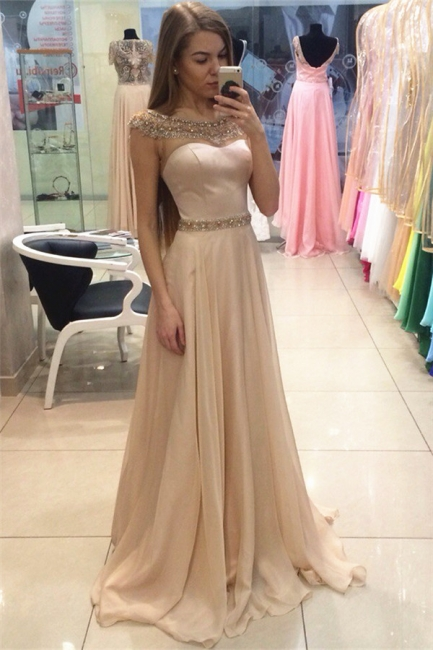 Champagne Prom Dresses Sparkly Beading Popular Evening Dress AE0001