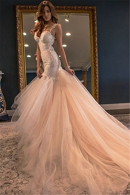Champagne Tulle Wedding Dresses  Spaghetti Straps Lace Sheer Back Bridal Dress