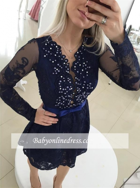 Mini Bow Long Sleeve Beads Lace Popular  Homecoming Dress