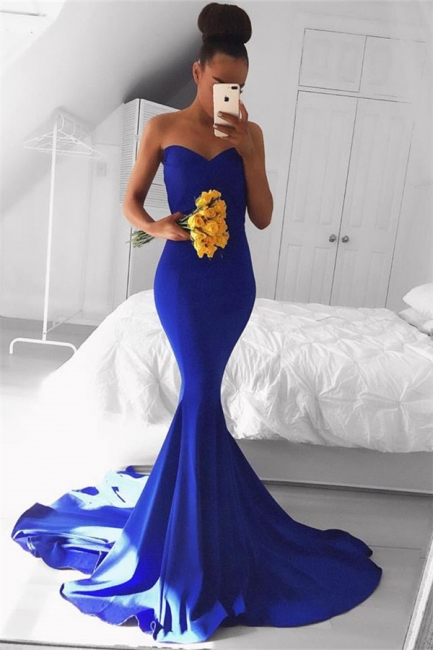 Simple Royal Blue Sweetheart Prom Dresses  Mermaid Sexy Evening Gowns