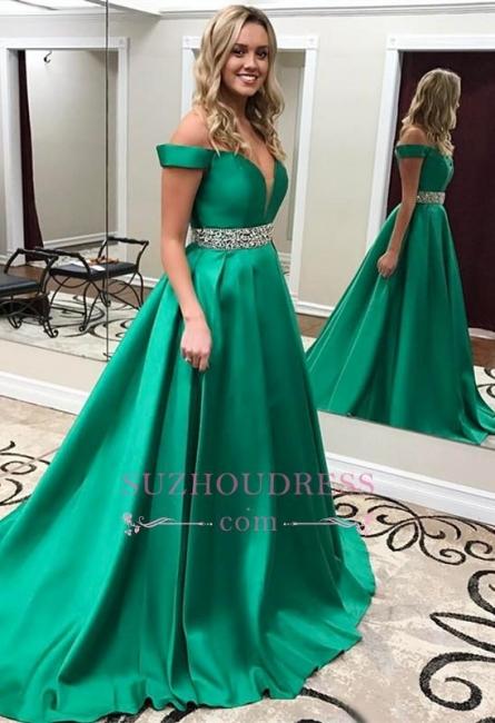 Green Gorgeous Off-the-Shoulder Evening Gowns  Crystals Belt Popular Prom Dress BA6196