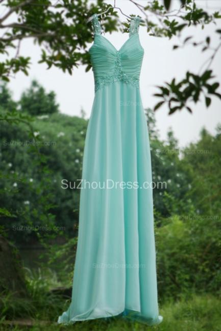 Modern Blue Prom Dresses V Neck Sequined Crystal Beading Sash Pleats Floor Length Zipper Chiffon Beach Evening Gowns