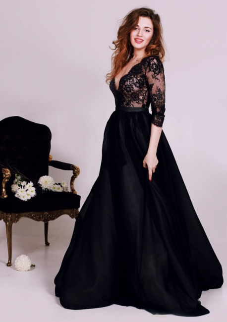 Black Deep V-Neck Lace Formal Occasion Dress Gorgeous A-Line 3/4 Long Sleeve Evening Gown JT127