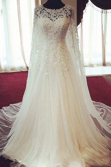 Elegant Long Sleeve Tulle Long Wedding Dress Lace Applique Court Train Formal Bridal Gowns