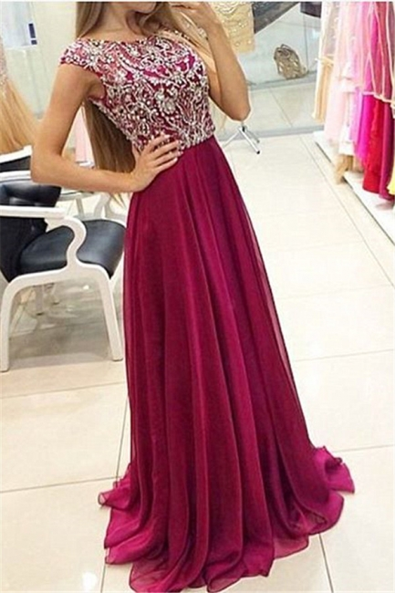 A-Line Crystal Chiffon Prom Dress Open Back Beading Zipper Evening Gown