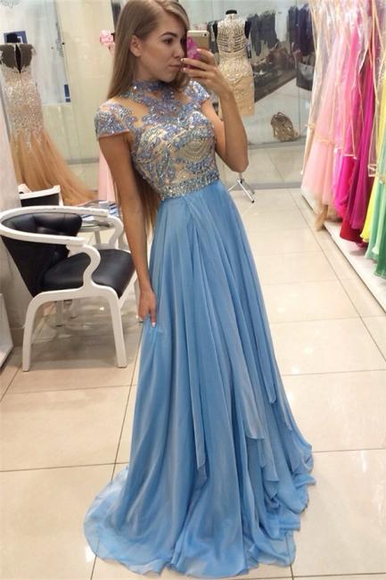Blue Chiffon High Neck Prom Dresses   Short Sleeve Beading Evening Gowns BA3824