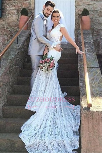 Lace Mermaid Sleeveless Elegant Open-Back V-Neck Wedding Dress BA5497