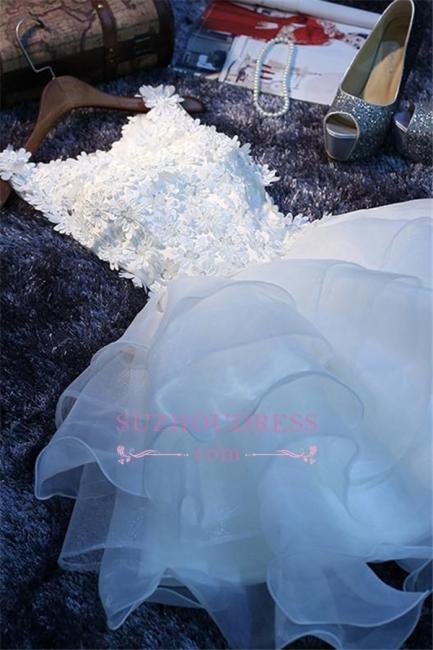 Elegant Sleeveless Ruffles Flowers A-Line Homecoming Dress with Beadings