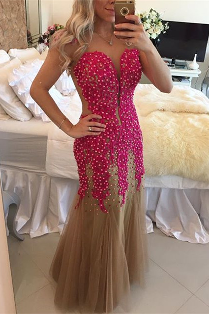 Latest Sweetheart Tulle Beading Evening Dress Sexy Mermaid Floor Length Formal Occasion Gowns