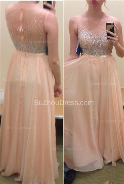Prom Dresses Illusion Neck Sleeveless A Line Light Pink Sequins Zipper Floor Length Evening Gowns