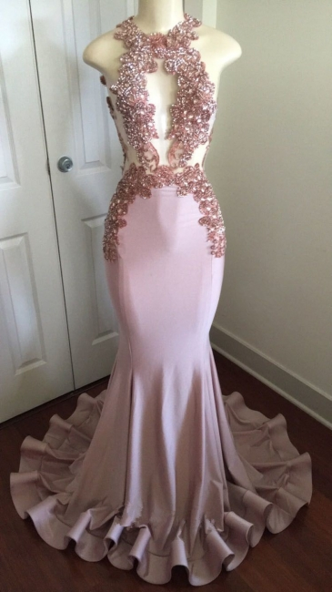 Pink Sleeveless Mermaid Prom Dresses  | Open Back Beads Crystals Appliques Evening Gown BA8042