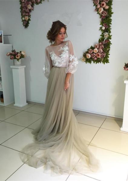 Elegant Open Back Evening Dress Long Sleeve Flowers Prom Dress ba3812