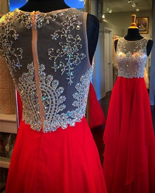 Elegant A-Line Chiffon Long Prom Dress with Beading Red Crystal Zipper Evening Gown