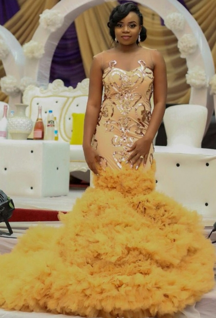 Glitter Gold Sequins Prom Dresses  | Mermaid Ruffled Tulle Sexy Evening Gowns