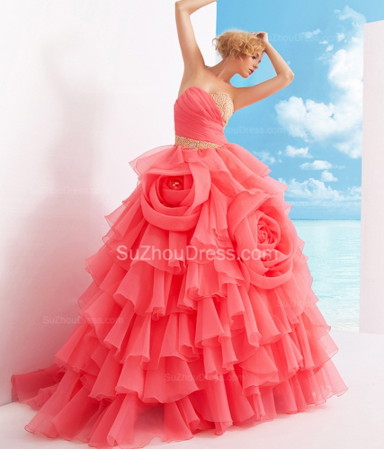 Charming Sweetheart Quinceanera Dresses  Tiered Flowers Party Dresses with Beadings