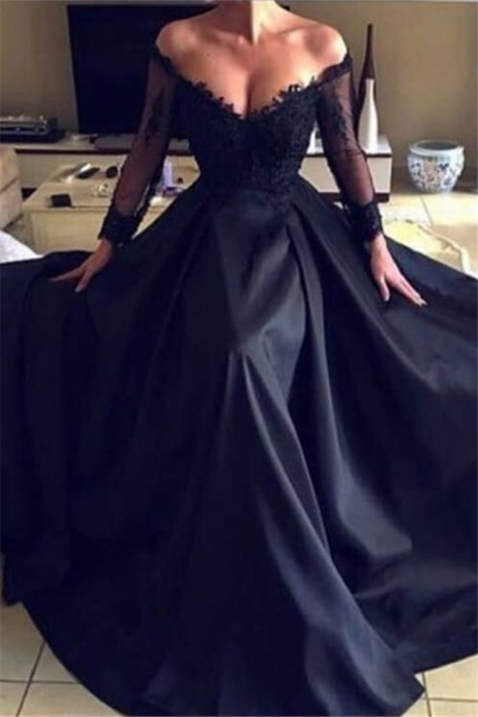 Off The Shoulder Sexy Black Lace Evening Dress | Long Sleeve Sheer  Formal Dresses