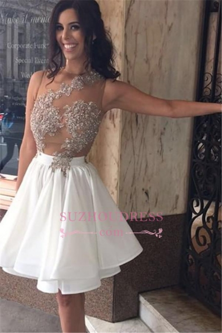 Lace Sleeveless Beaded Appliques Short Chiffon A-Line  Homecoming Dress