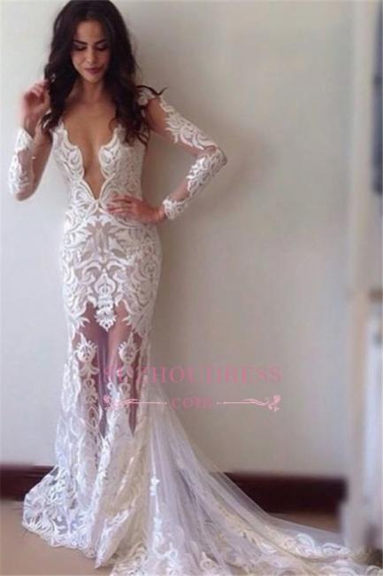 Sexy Glamorous Sheath Appliques Lace Long-Sleeves Prom Dress BA3814