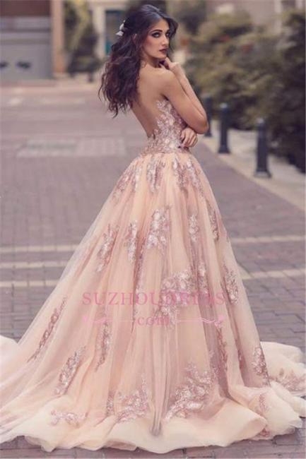 V-neck Amazing Pink Formal Dress  Overskirt Front Appliques Slit Tulle Lace Evening Dress BA6127