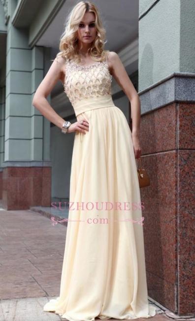 Newest Zipper Jewel A-line Sleeveless Chiffon Beads Prom Dress