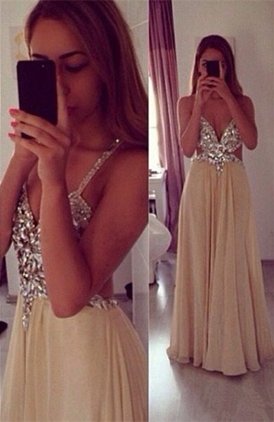 Sexy Beading Spaghetti Strap Prom Dress  Crossed Back Floor Length Dresses CE0144