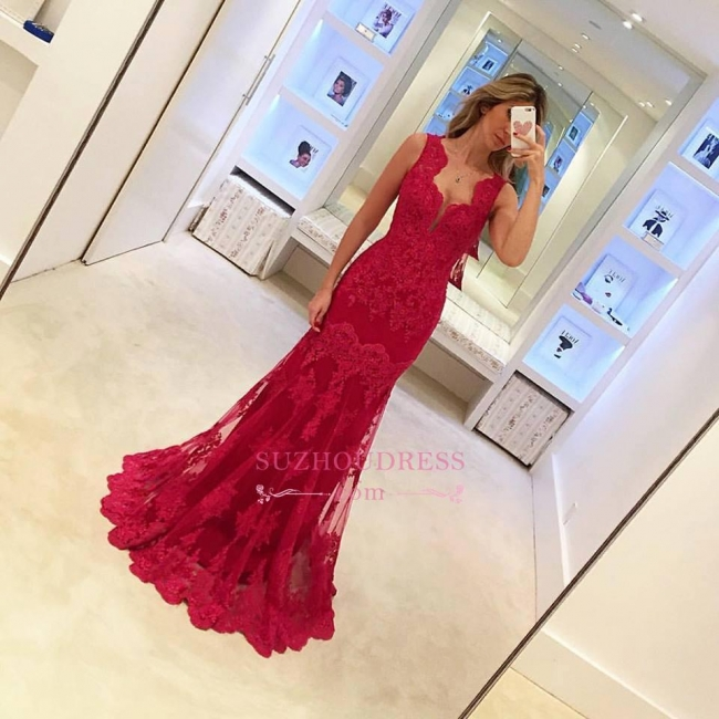 Popular Long Sleeveless Mermaid Prom Gowns  Elegant Sexy Red Lace Evening Dresses BA3745