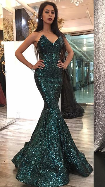 Dark Green Sequins Sexy Evening Dress Sleeveless Strapless Mermaid   Prom Dress FB0260