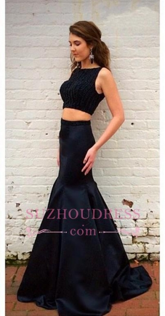 Black Top Sleeveless Two-Piece Crystals Mermaid Prom Dresses