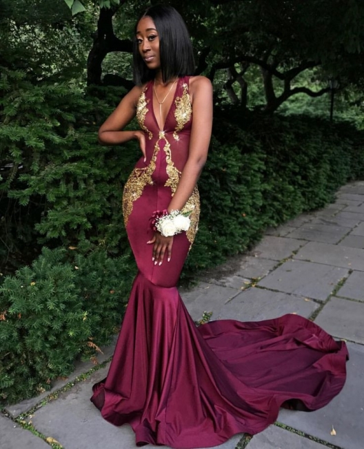 Sexy Burgundy V-Neck Sleeveless Prom Dresses  Mermaid Appliques Evening Dresses SK0093