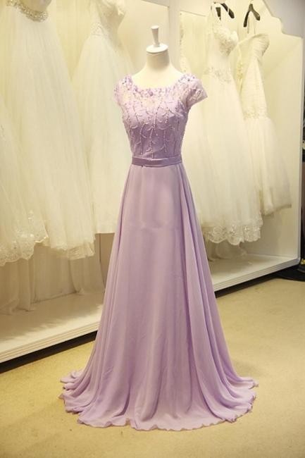 Cute Lavender Chiffon Long Prom Dresses with Beading Sequin  Lovely Popular Evening Dresses
