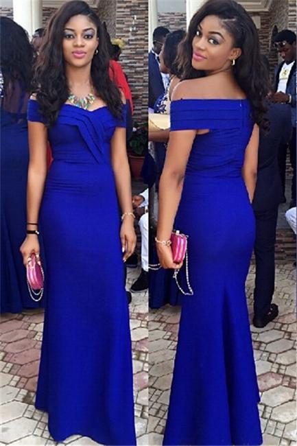 Royal Blue Wedding Guest Dress Sheath Off Shoulder  Prom Dress BA3120