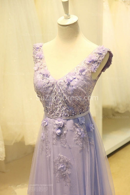Elegant V-Neck Cute Lavender Prom Dresses with Flowers Tulle Pink Evening Dresses with Pearl Beadings
