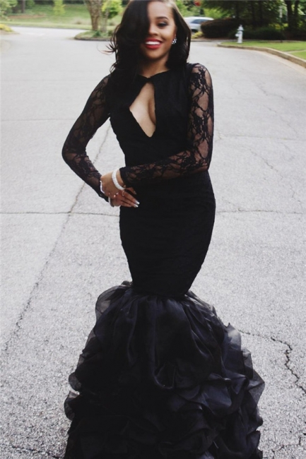 Mermaid Ruffles Long Sleeve Lace Prom Dresses  Sexy Keyhole Black Evening Gown BA4937