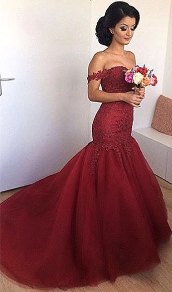 Off The Shoulder Mermaid Burgundy Evening Dresses  Lace Open Back Sexy Formal Dress FB0189