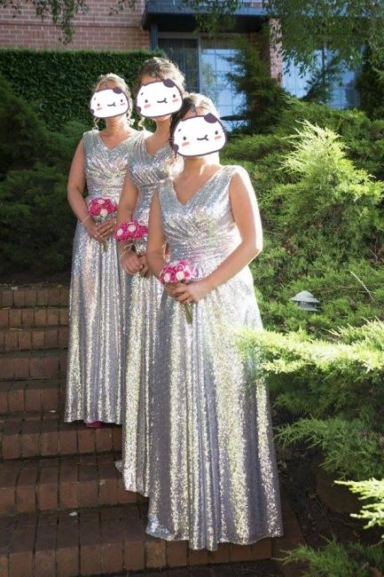 V-Neck Sliver Sequined Long Bridesmaid Dress Popular  Plus Size Wedding Dresses for Women