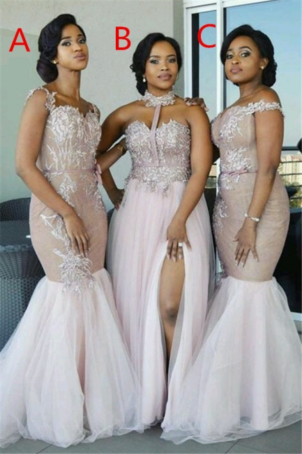 Elegant Pink Tulle Bridesmaid Dresses | Appliques  Wedding Party Dress