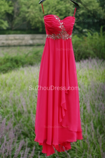 Side Draped Prom Gowns  Spaghetti Straps Sequined Beading Crystal Hi Lo Zipper Peachblow Chiffon Evening Dresses