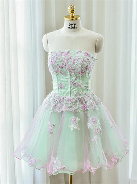 Cute Strapless Flower Mini Homecoming Dress New Arrival Lace Organza Short Cocktail Dress