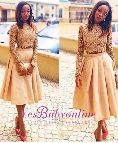 Two-Piece Tea-Length Modest Lace A-Line Long-Sleeves Homecoming Dresses