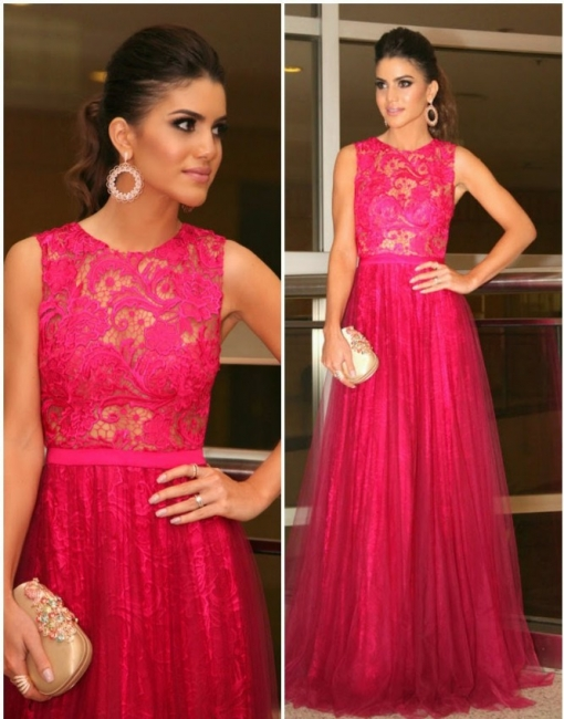 Elegant Rose Lace Tulle Long Evening Dress  New Arrival Open Back Special Occasion Dresses