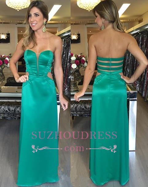 Natural Long Sweetheart Zipper Green Evening Dresses  Elegant Sleeveless Prom Dresses