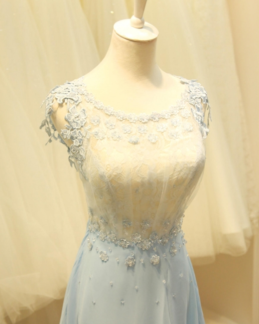 Baby Blue Evening Dresses with Flowers Lace Appliques Pretty Long Prom Gowns with Pearls
