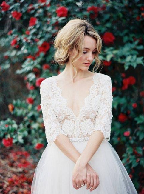 V-Neck Half Sleeve Lace Summer Wedding Dress Elegant Tulle  A-Line Bridal Gowns