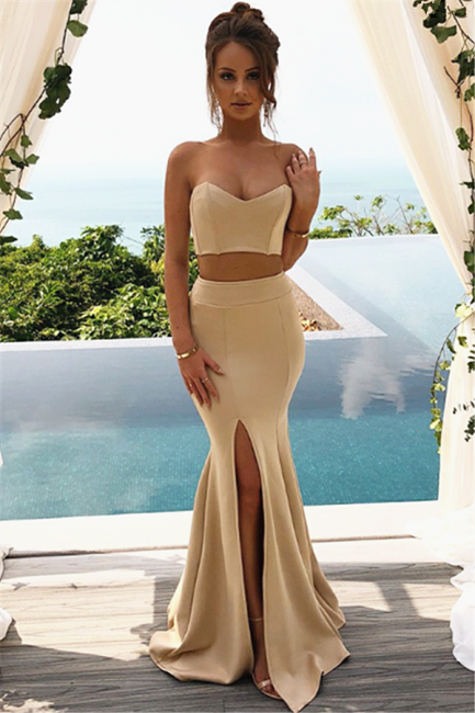 Two Piece Sweetheart Champagne Evening Dresses    Sheath Formal Party Dresses with Split
