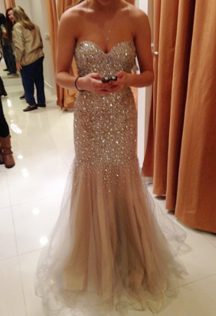 Sweetheart Champagne Evening Dresses  Sparkly Crystals Sexy Prom Gowns
