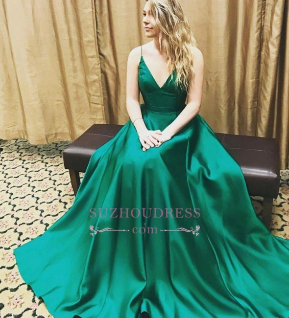 V-Neck Spaghetti Strap Prom Gowns  Beautiful Formal Evening Dress