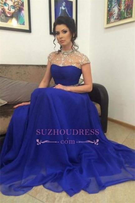 Short-Sleeves A-Line Royal-Blue High-Neck Beadings Prom Dress