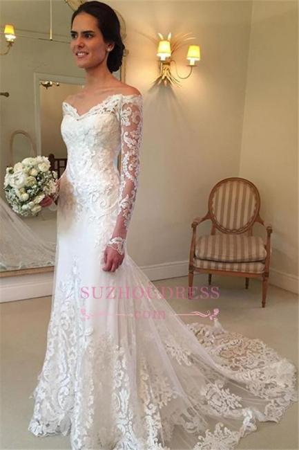 Sheath Long-Sleeve Lace Off-the-shoulder Court-Train V-neck Wedding Dresses