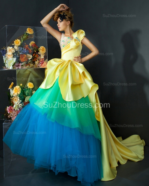 Satin Tiered Quinceanera Dresses  Sweep Train Crystal Prom Gowns With Beadings
