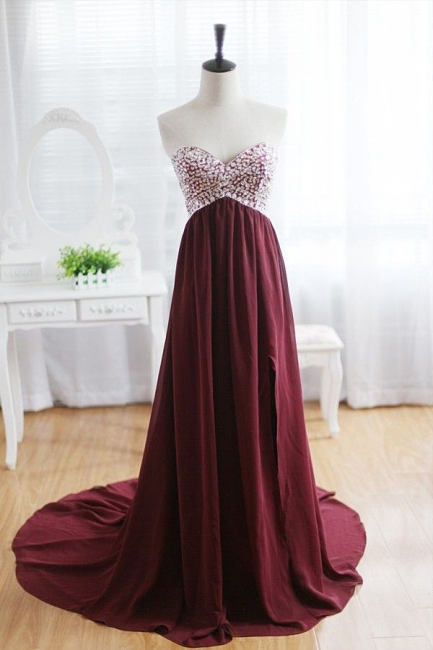 Maroon Prom Dress  Sweetheart Beads Wine Red Evening Gown with Long Train